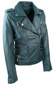 womens las real soft leather racing style biker jacket teal green new b015uhb7o0