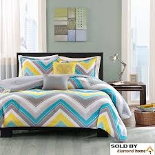 turquoise and yellow bedding. Brilliant Turquoise Amazoncom 5 Piece Full Queen Zig Zag Chevron Comforter Set For Teenage  Girls Or Adults Turquoise Yellow Gray Blue White Aqua Grey Chic Bright Vibrant  On And Bedding Amazoncom
