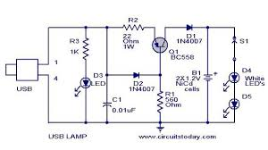 usb led lamp circuit using volts usb led lamp circuit