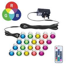 30mm Led Decking Lights Details About Set Of 20 30mm Rgb Patio Deck Plinth Lights Ip67 Led Remote Colour Changing
