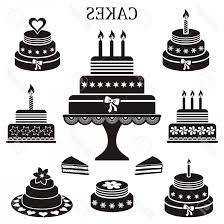 Photostock Vector Black Birthday And Wedding Cakes Vector Silhouette