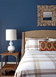 blue wall paint bedroom. Bedroom:Trendy Bedroom Decor With Plaid Sheet Also Dark Blue Wall Paint Beautiful Colors Green A