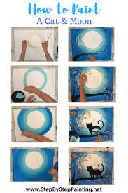 step by step painting learn how to paint a cat and moon with tracie s acrylic