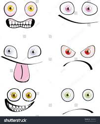 set of six emotions cartoon style isolated on white