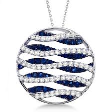 circle blue sapphire diamond pendant necklace 14k white gold