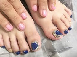 ハンドフット ネイビーピンク ジェルネイル Nail Salon Cobes