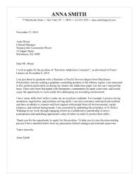 Cover Letter Social Workes Addictions Counselor Medical Internship