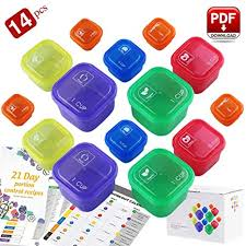 Weight Loss Chart Amazon 21 Day Portion Control Containers Double Set 14 Pieces With Meal Guide 21 Day Tally Chart 21 Day Fix Containers