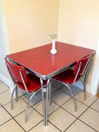 1950 039 s chrome retro red kitchen table with 2 red by