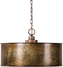 uttermost 22066 wolcott vintage golden galvanized drum hanging light loading zoom