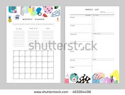 Monthly Planner Plus Weekly List Templates Stock Vector 465004496 ...