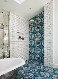 open shower with blue and green mosaic tiles