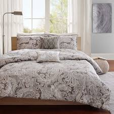 the madison park pure dermot collection creates an organic look and feel to your space the soft blue is the perfect base for this updated paisley design