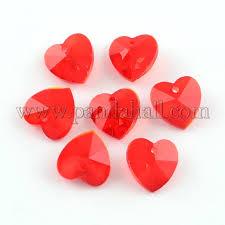 transpa glass heart pendants