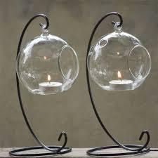 Hanging Glass Tea Light Spheres Hanging Glass Bauble Sphere Ball Candle Tea Light Holder Clear Garden Decor