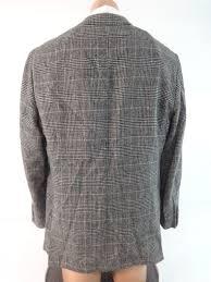 johnston murphy mens black white plaid camel hair sport coat size m