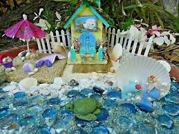 mini beach fairy garden starter set kit mermaid cottage house sand s