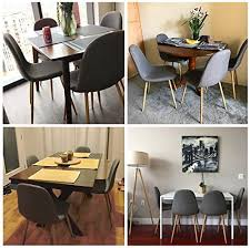 greenforest dining side chairs eames style strong metal legs fabric cushion seat and back for dining room chairs set of 4 gray