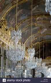 Kronleuchter Im Spiegelsaal Von Versailles Stockfoto Bild