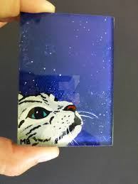 actlikenaturedoes aceo cat galaxy reverse acrylic painting on glass by actlikenaturedoes