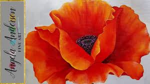 red poppy acrylic painting georgia o keeffe inspired tutorial live beginner blending lesson