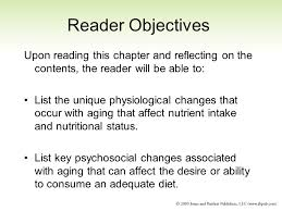 chapter special topics of age related risks unique nutrition 2 reader objectives