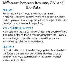 Resume Cv Meaning Impressive Meaning Of Bio Data New Differences Among Resume Cv And Difference