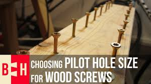 Choosing Pilot Hole Size For Wood Screws