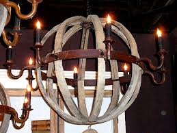 reclaimed wood and iron chandelier