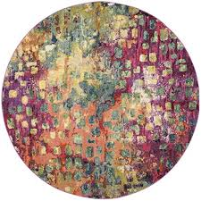 safavieh monaco collection mnc225d modern abstract watercolor pink and multi round area rug 5 diameter