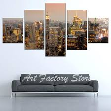 panoramic wall art panoramic city in evening canvas prints pictures modular wall art posters 5 pieces