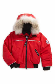 Canada Goose  Grizzly  Down Hooded Bomber Jacket with Genuine Coyote Fur  Trim (Toddler Kids   Little Kids)