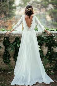 flowy wedding dresses. Ivory Chiffon Lace Long Elegant Beach Wedding DressesFlowy Backless