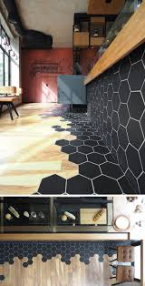 simple wood floor designs. Contemporary Simple Black Hexagon Tiles And Wood Laminate Flooring Are A Design Element In This  Modern Cafe Throughout Simple Wood Floor Designs H