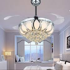 lighting outstanding crystal chandelier ceiling fan 13 modern light luxury folding dining room lamp with remote
