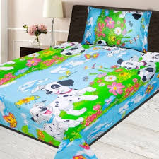 bed sheets for kids. Cartoon Character Printed Single Bedsheet - Multi Bed Sheets For Kids D
