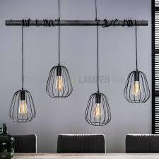 Landelijke Eettafellamp 4 Lichts Lampoon Oud Zilver Kopen