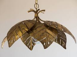 vintage french gilded mid century palm leaf chandelier circa 1960 this circular fixture