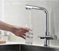 Brass Two Handles Kitchen Sink Water Filter Faucet With Drinking