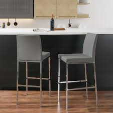 grey leatherette cushioned bar stool set of 2 ddf 173 b the home depot