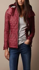 Lyst - Burberry brit Hooded Quilted Jacket in Red & Be Inspired Adamdwight.com