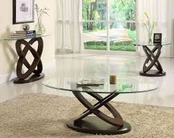 ... Living Room Coffee Tables And End Tables Best Design Thick Clear Elips  Glass Top Brown Lacquered ...