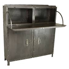 French Industrial Steel Drop Front Desk/Bar Cabinet at 1stdibs