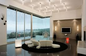 modern living room lighting. unique ceiling track lighting combined with wall lights for modern living room design