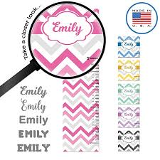 wallclipz personalized growth chart fabric wall decal pink gray chevron with name height ruler measurement l