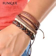 men s multi layer leather braid weave charms bead bracelet