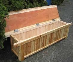 cedar wood storage bench outdoor