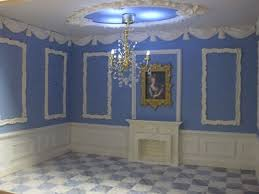 marie antoinette french blue miniature dollhouse roombox w crystal chandelier 290949504