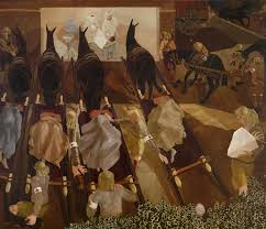 commissioned by the british war memorials committee first world war artist stanley spencer chose a macedonian dressing station to ilrate his