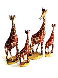 lot of 4 hand carved wooden giraffe figurine statue african kenya home decor nos